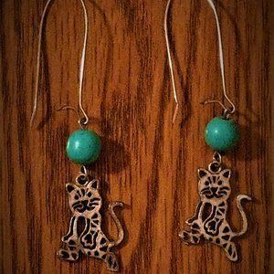 Kitty with Turquoise Beads Dangle Earrings